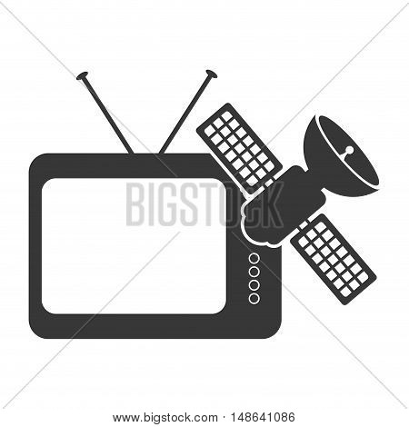 retro television entertainment device with satellite icon. vector illustration