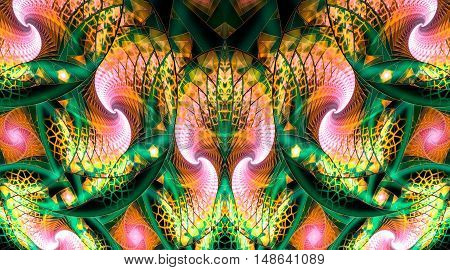 Fantasy swirls. Abstract mosaic ornament on black background. Symmetrical pattern. Fractal design in orange yellow pink white black and green colors.
