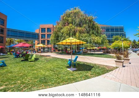 Mountain View, California, United States - August 15, 2016: dining and relaxing area for Google employees at Googleplex. Google is a multinational corporation specializing in Internet-related services