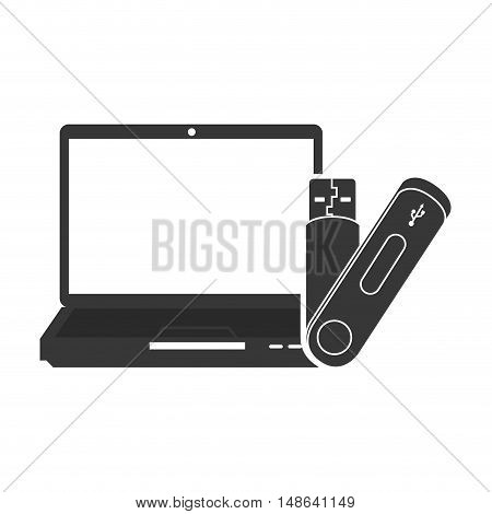 laptop computer technology device with usb flash drive icon. vector illustration