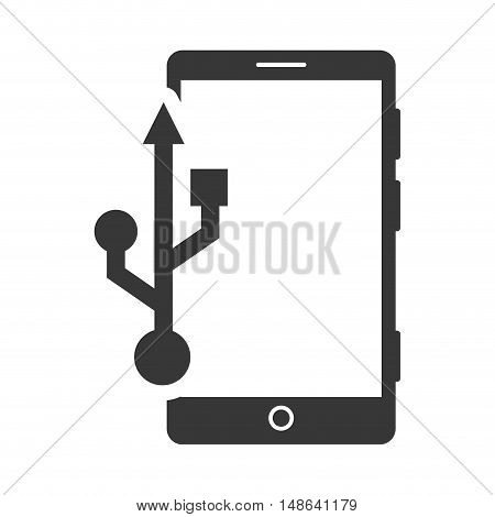 smartphone mobile phone with usb symbol. communication and technology device. vector illustration