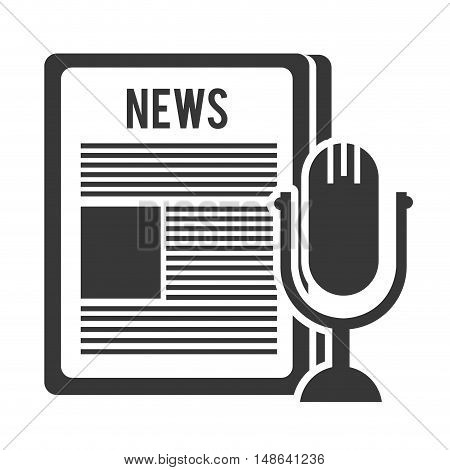 newspaper communication news document with retro microphone symbol. vector illustration