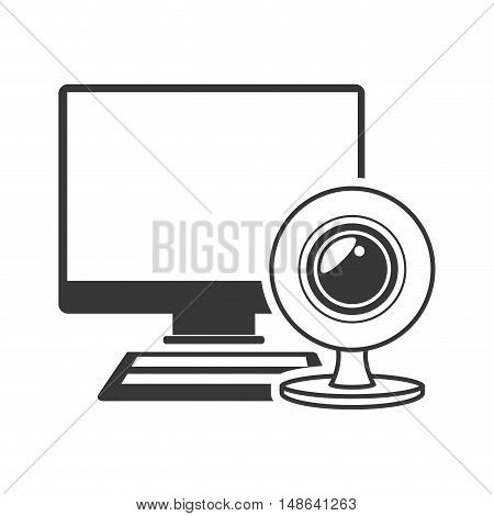 computer monitor screen technology device with web cam and keyboard icon. vector illustration