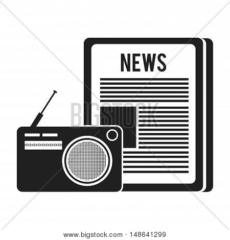 newspaper communication news document with retro radio. vector illustration