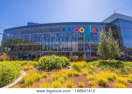 Mountain View, California, USA - August 15, 2016: Google sign on one of the Google buildings. Exterior view of a Google headquarters building in Silicon Valley.