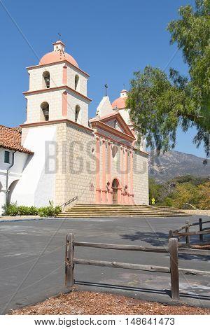 SANTA BARBARA, CALIFORNIA - SEPTEMBER 21, 2016: Mission Santa Barbara. The 10th mission was founded on 12/4/1786, the feast day of Saint Barbara.