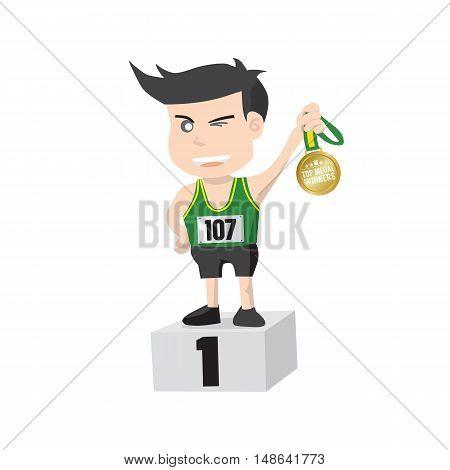 Flat Design Runner Athlete Showing Golden Medal Winner On A Pedestal Vector illustration. EPS 10