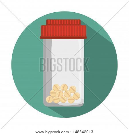 medical prescription pill bottle container with red cap. vector illustration