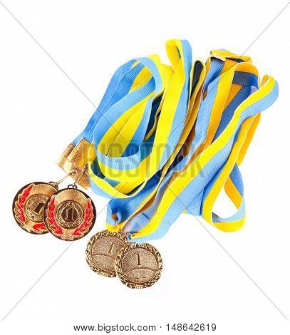 First place medals over white background top view