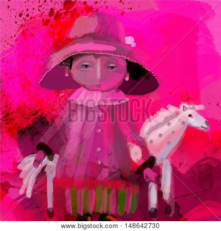 baby doll wearing a hat with a horse on a red background