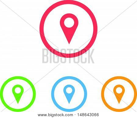 Colorful Set of Map Marker Ring Icons