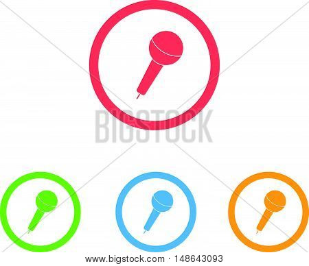 Colorful Set of Microphone or Speaker Icons