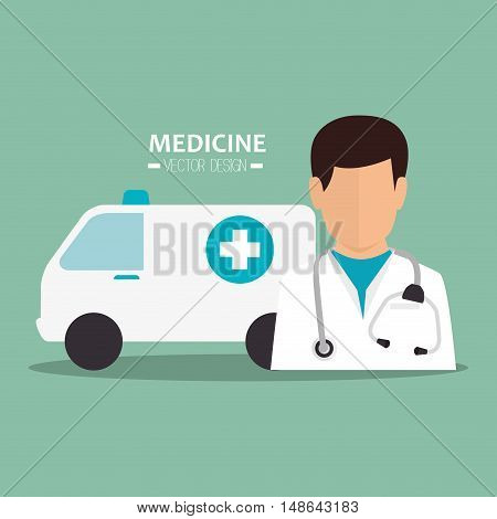 avatar man medical assistance with emergency ambulance vehicle. medicine symbols. colorful design vector illustration