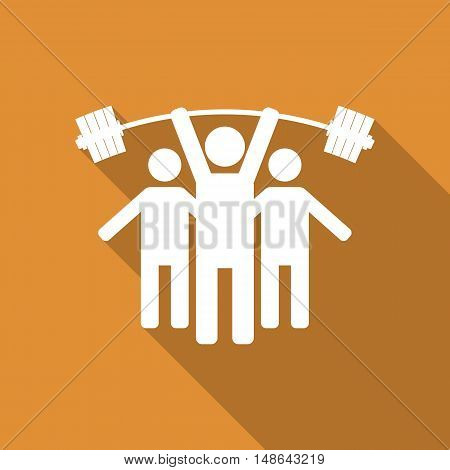 Icon stick figure silhouettes athletes with sports equipment people icon with long diagonal shadow vector illustration.