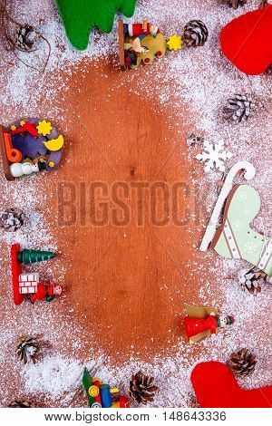 Christmas And New Year Frame For Greeting Card  Wooden Background With Copy Space. Top View. Holiday