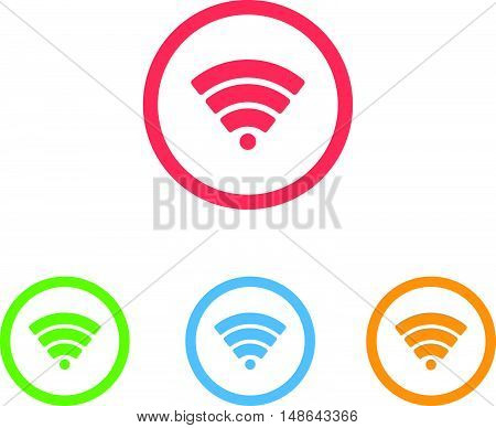 Colorful Set of Wifi or Signal Icons