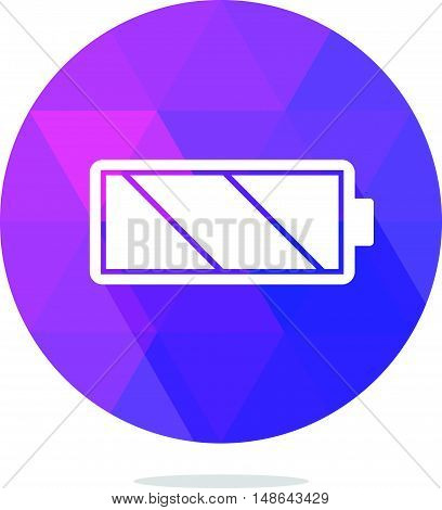 Modern Low Poly Battery Icon with Long Shadow