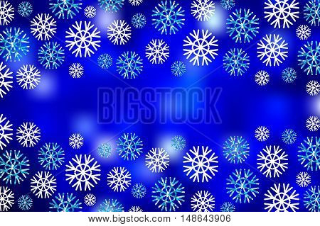 Illustration  vector abstract blurred background with snowflakes