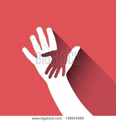 Vector sign children hand, isolated on red