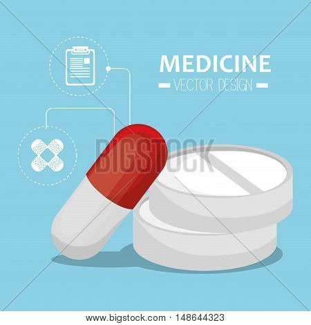 capsule and pills prescription medicament and medicine icons. vector illustration
