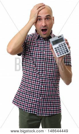 Shocked Man Holding A Calculator. Isolated