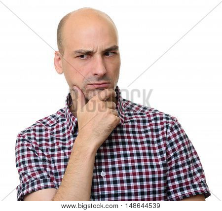 Middle Age Man Thinking With Finger On Chin. Isolated
