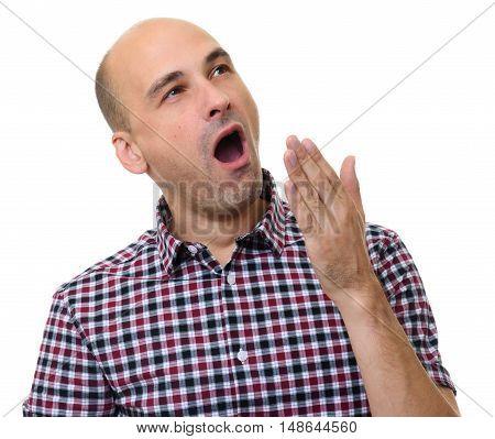 Bald Man Yawning Isolated