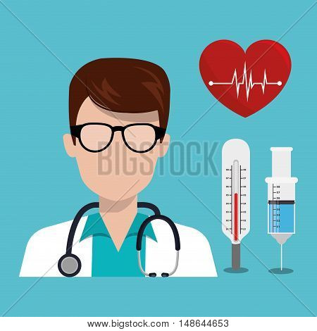 avatar man medical assistance with medicine icon set. colorful design. vector illustration
