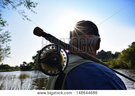 Closeup of fly-fishing rod and reel