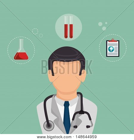 avatar man wearing suit and tie. doctor medical assistance and medicine icon set. colorful design. vector illustration