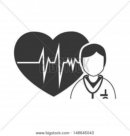 cardio pulse heart with medical man doctor. medicine icon. vector illustration
