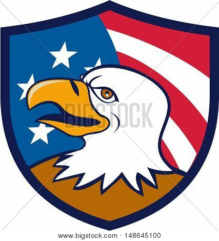 Illustration of an american bald eagle head smiling viewed from the side with usa american stars and stripes flag in the background set inside shield crest done in cartoon style.
