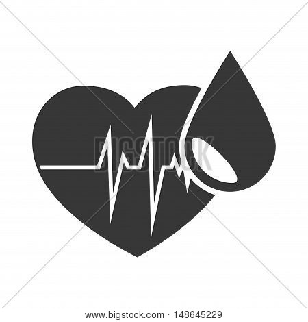cardio pulse heart with drop of blood. vector illustration
