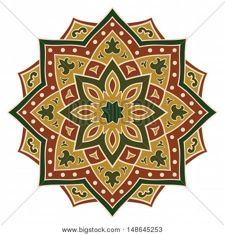 Ethnic green and brown mandala. Template for carpet textile blanket cushion shawl. Vector oriental pattern.