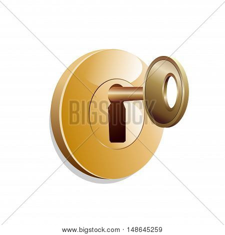 Vector sign home security key in the lock