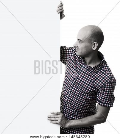 Handsome Man Looking At A White Panel Isolated