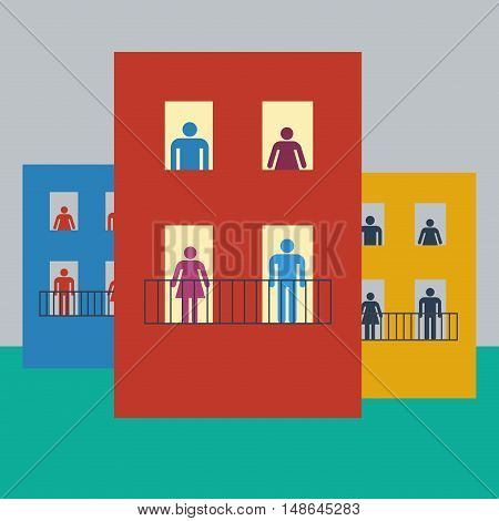 Vector illustration life of condominium flat design