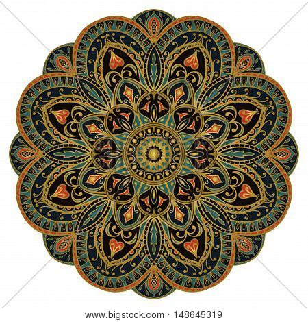 Mandala. Red and green ornament. Template for oriental carpet textile shawl cover and any surface. Vector pattern of gold contours. Design element.