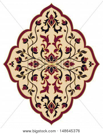 Oriental floral ornament. Templates for carpets textiles and any surface. Vector pattern of gold contour on a white background. Design element.