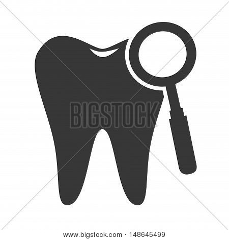 oral tooth with magnifying glass tool. vector illustration