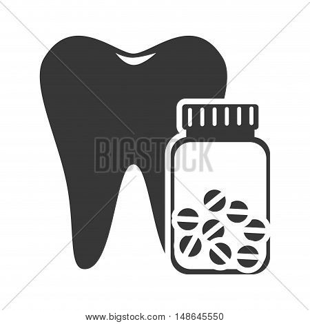 oral tooth with pills bottle container. medicine icon. vector illustration
