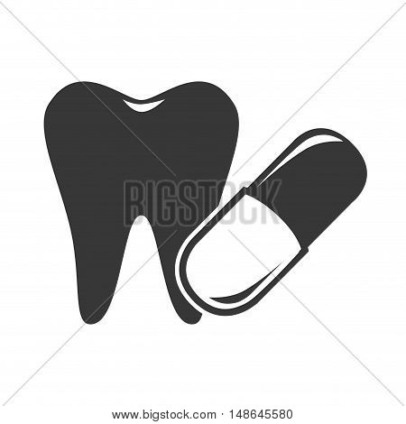 oral tooth with medical capsule. medicine icon. vector illustration