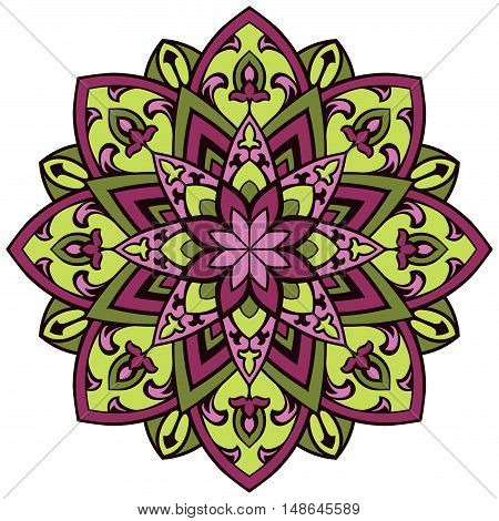 Colorful vector mandala. Design element for shawl carpet textile.