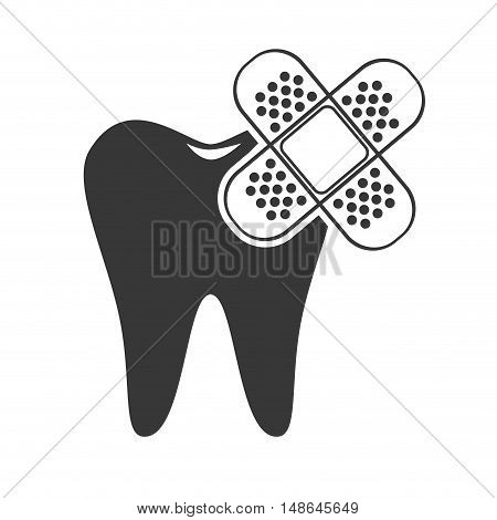 oral tooth with adhesive bandage. medicine icon.vector illustration