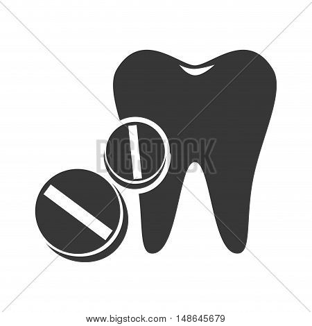 oral tooth with medical pills. medicine icon. vector illustration