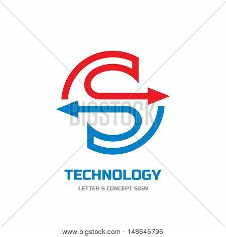 Technology - vector logo template concept illustration. Letter S abstract sign. Arrows in circle. Design element.