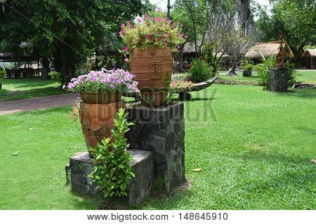 Landscaping Garden With Colorful Flowers
