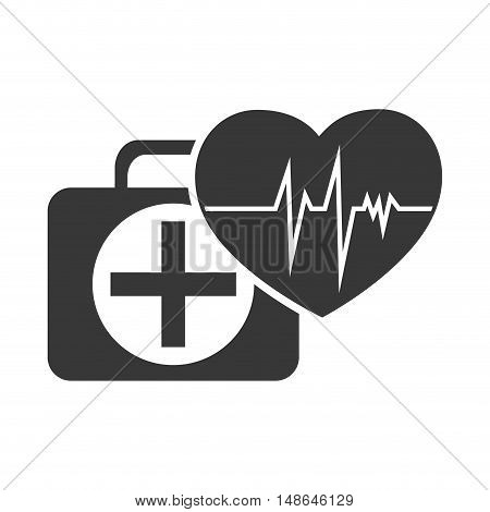 kit medical health box with heart cardio pulse icon. vector illustration