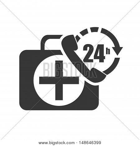 kit medical health box with call center service icon. vector illustration