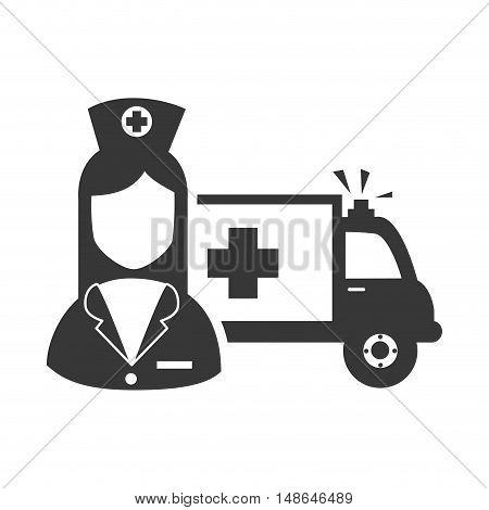 avatar woman nurse with emergency ambulance medicine vehicle  icon. vector illustration